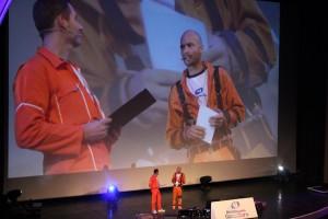 Marcus sur la scène du grand Rex pour le Micromania game tour 2012