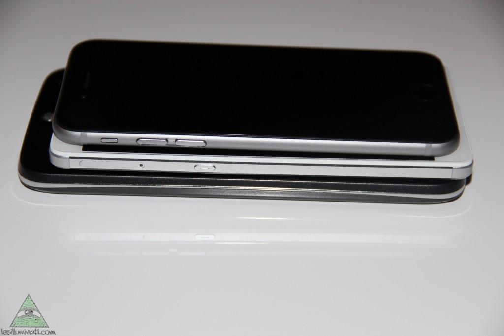 Différence d'épaisseur avec le Honor 7 et le Iphone 6, Le Acer se trouve en dernière position.